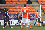 Blackpool midfielder Sean Longstaff (15) scores a goal 5-0 from the dropped ball by Bradford City goalkeeper Colin Doyle (1) during the EFL Sky Bet League 1 match between Blackpool and Bradford City at Bloomfield Road, Blackpool, England on 7 April 2018. Picture by Craig Galloway.
