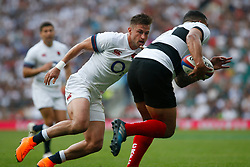 Josh Matavesi of Barbarians is marked by Jonny May of England - Mandatory by-line: Ryan Hiscott/JMP - 27/05/2018 - RUGBY - Twickenham Stadium - London, England - England v Barbarians - Quilter Cup
