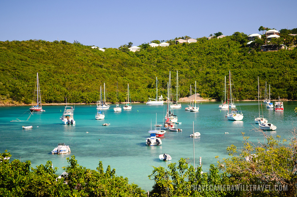 Yachts moored in the natural harbor of Cruz Bay on St. John in the US Virgin Islands.