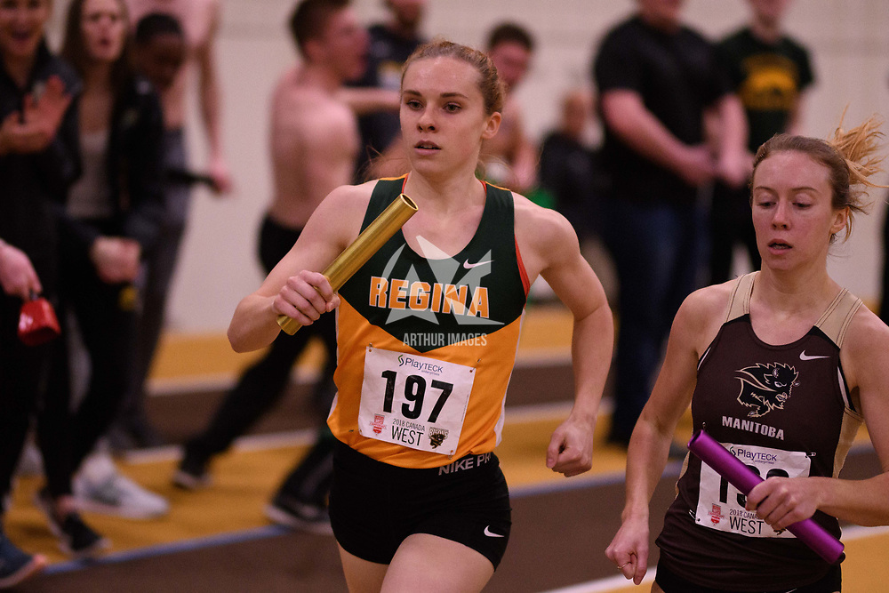 Michaela Allen in action during the 2018 Canada West Track & Field Championship on February  23 at James Daly Fieldhouse. Credit: Arthur Ward/Arthur Images