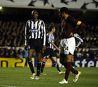 Photo: Chris Ratcliffe.<br /> Arsenal v Juventus. UEFA Champions League. Quarter-Finals. 28/03/2006.<br /> Thierry Henry and Patrick Vieira have a chat during the game
