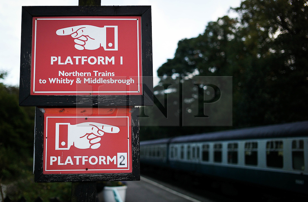 © Licensed to London News Pictures. <br /> 01/10/2016. <br /> Grosmont, UK.  <br /> <br /> Signs indicate platforms during the North Yorkshire Moors Railway Autumn Steam Weekend. <br /> The hugely popular railway line runs a service between Pickering and Whitby through the picturesque North yorkshire countryside and attracts thousands of visitors each year. <br /> <br /> Photo credit: Ian Forsyth/LNP