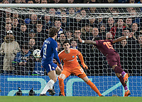 Football - 2017 / 2018 UEFA Champions League - Round of Sixteen, First Leg: Chelsea vs. Barcelona<br /> <br /> Paulinho (Barcelona) heads the ball across the Chelsea goal at Stamford Bridge.<br /> <br /> COLORSPORT/DANIEL BEARHAM