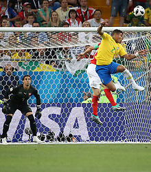 ROSTOV-ON-DON, June 17, 2018  Thiago Silva (R) of Brazil competes during a group E match between Brazil and Switzerland at the 2018 FIFA World Cup in Rostov-on-Don, Russia, June 17, 2018. (Credit Image: © Li Ga/Xinhua via ZUMA Wire)