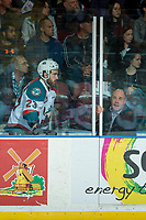 KELOWNA, CANADA - APRIL 25: Reid Gardiner #23 of the Kelowna Rockets readies to exit the penalty box against the Seattle Thunderbirds on April 25, 2017 at Prospera Place in Kelowna, British Columbia, Canada.  (Photo by Marissa Baecker/Shoot the Breeze)  *** Local Caption ***