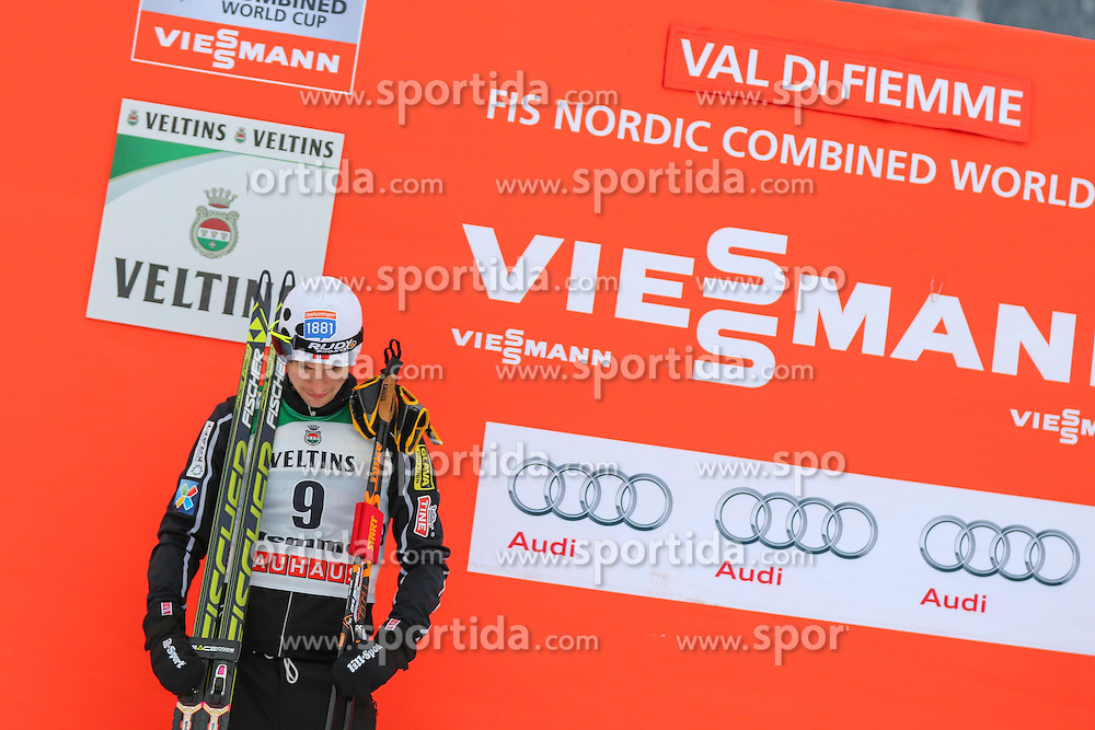 30.01.2015, Langlaufzentrum, Lago di Tesero, ITA, FIS Weltcup Nordische Kombination, Val di Fiemme, Siegerehrung, im Bild Jan Schmid NOR // during Winner Award Ceremony of the FIS Nordic Combined World Cup Val di Fiemme Langlaufzentrum in Lago di Tesero, Italy on 2015/01/30. EXPA Pictures © 2015, PhotoCredit: EXPA/ Alice Russolo