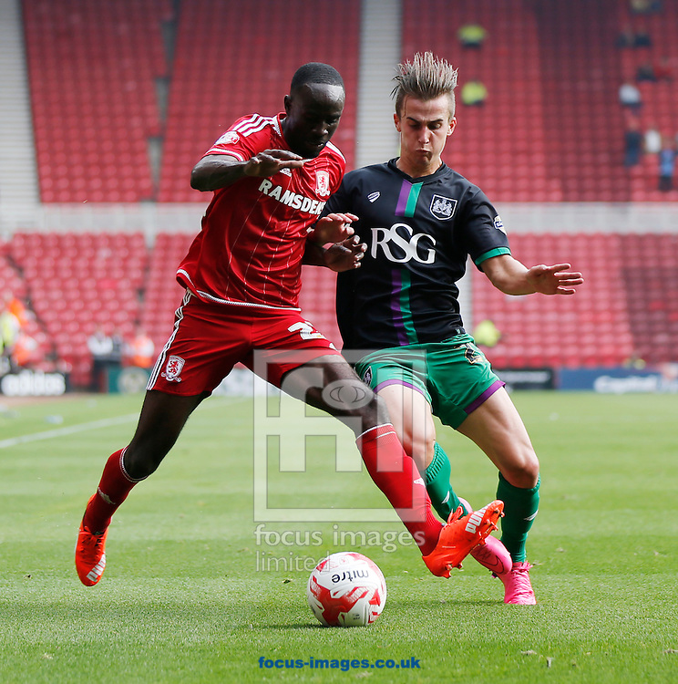 Albert Adomah (l) of Middlesbrough and Joe Bryan of Bristol City during the Sky Bet Championship match at the Riverside Stadium, Middlesbrough<br /> Picture by Simon Moore/Focus Images Ltd 07807 671782<br /> 22/08/2015