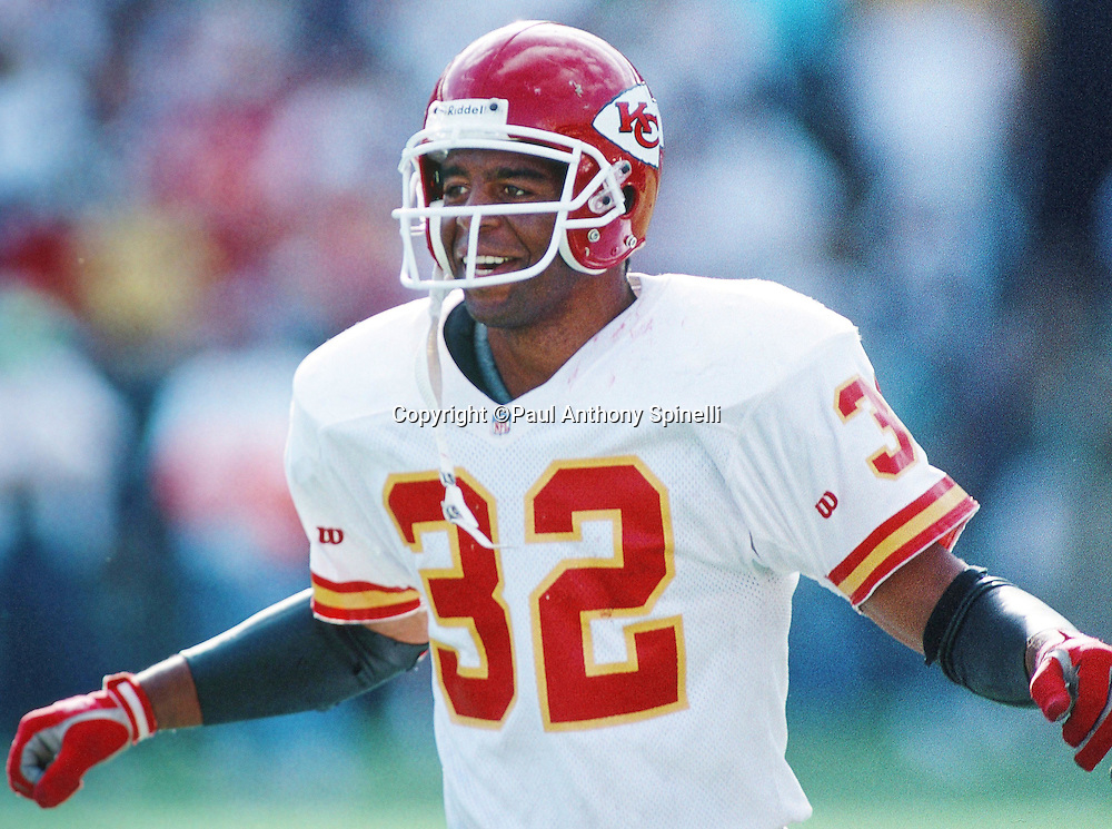 Kansas City Chiefs running back Marcus Allen (32) smiles during the NFL football game against the San Diego Chargers on Oct. 17, 1993 in San Diego. The Chiefs won the game 17-14. (©Paul Anthony Spinelli)