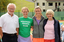 Pictured at the official opening of the upgraded courts at Westport Tennis Club were David, Ciara, Aoife and Bronagh Joyce.<br />