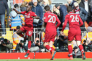 Liverpool forward Sadio Mane (10) celebrates his goal 2-1  during the Premier League match between Liverpool and Burnley at Anfield, Liverpool, England on 10 March 2019.