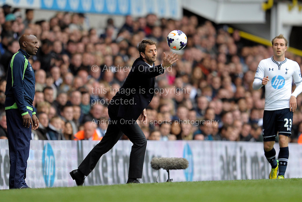 Tottenham Hotspur Manager Tim Sherwood trying to hold onto the ball .Barclays premier league match ,Tottenham Hotspur v Aston Villa at White Hart Lane in Tottenham, London  on Sunday 11th May 2014.<br /> pic by John Patrick Fletcher, Andrew Orchard sports photography.