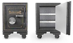 2 Antique iron safes isolated on white background, one is open
