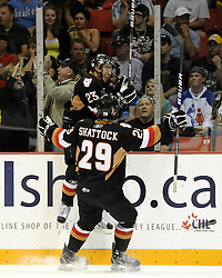 Tyler Fiddler of the Calgary Hitmen celebrates a goal in the semi-final game of the 2010 MasterCard Memorial Cup in Brandon, MB on Friday May 21. Photo by Aaron Bell/CHL Images