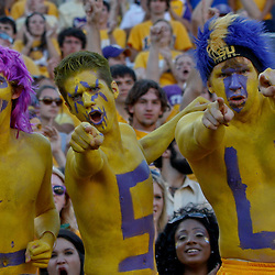 October 8, 2011; Baton Rouge, LA, USA;  LSU Tigers fans cheer from the stands during the fourth quarter against the Florida Gators at Tiger Stadium. LSU defeated Florida 41-11. Mandatory Credit: Derick E. Hingle-US PRESSWIRE / © Derick E. Hingle 2011