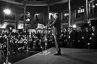 """ROME, ITALY - 26 FEBRUARY 2013: Left-wing Democratic Party leader Pier Luigi Bersani delivers a speech during a press conference following the Italy's general election on February 26, 2013 in Rome.<br /> A general election to determine the 630 members of the Chamber of Deputies and the 315 elective members of the Senate, the two houses of the Italian parliament, will take place on 24–25 February 2013. The main candidates running for Prime Minister are Pierluigi Bersani (leader of the centre-left coalition """"Italy. Common Good""""), former PM Mario Monti (leader of the centrist coalition """"With Monti for Italy"""") and former PM Silvio Berlusconi (leader of the centre-right coalition).<br /> <br /> ###<br /> <br /> ROMA, ITALIA - 26 FEBBRAIO 2013: Pierluigi Bersani, leader del Partito Democratico, tiene una conferenza stampa dopo l'annuncio dei risultati delle elezioni politiche italiane,  il 26 febbraio 2013.<br /> <br /> Le elezioni politiche italiane del 2013 per il rinnovo dei due rami del Parlamento italiano – la Camera dei deputati e il Senato della Repubblica – si terranno domenica 24 e lunedì 25 febbraio 2013 a seguito dello scioglimento anticipato delle Camere avvenuto il 22 dicembre 2012, quattro mesi prima della conclusione naturale della XVI Legislatura. I principali candidate per la Presidenza del Consiglio sono Pierluigi Bersani (leader della coalizione di centro-sinistra """"Italia. Bene Comune""""), il premier uscente Mario Monti (leader della coalizione di centro """"Con Monti per l'Italia"""") e l'ex-premier Silvio Berlusconi (leader della coalizione di centro-destra)."""