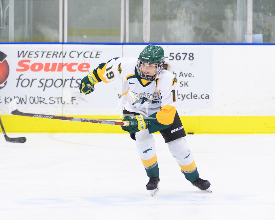 1st year forward Sarah Hornoi (19) of the Regina Cougars in action during the Women's Hockey Home Game on October 14 at Co-operators arena. Credit: Arthur Ward/Arthur Images