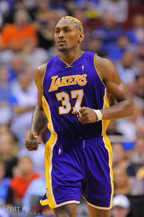 March 6, 2010; Orlando, FL, USA; Los Angeles Lakers forward Ron Artest (37) vs. Orlando Magic at Amway Arena...©2010 Scott A. Miller