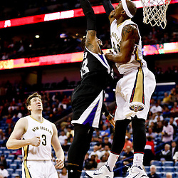 Mar 7, 2016; New Orleans, LA, USA; Sacramento Kings guard Ben McLemore (23) has a shot blocked by New Orleans Pelicans forward Dante Cunningham (44) during the first quarter of a game at the Smoothie King Center. Mandatory Credit: Derick E. Hingle-USA TODAY Sports