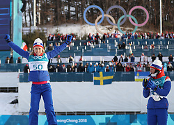 PYEONGCHANG, Feb. 15, 2018  Ragnhild Haga (L) from Norway celebrates during venue ceremony of women's 10KM free event of country skiing at Pyeongchang 2018 Winter Olympic Games at Alpensia Cross-Country Centre, PyeongChang, South Korea, Feb. 15, 2018. Ragnhild Haga claimed champion in a time of 25:00.5. (Credit Image: © Bai Xuefei/Xinhua via ZUMA Wire)