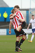Danny Wright celebrates his goal with James Rowe during the Vanarama National League match between Barrow and Cheltenham Town at Holker Street, Barrow, United Kingdom on 6 February 2016. Photo by Antony Thompson.
