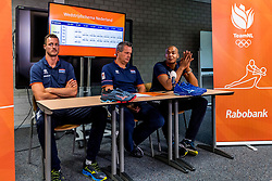 06-09-2018 NED: Press conference Netherlands, Doetinchem<br /> Press conference before the first match against Argentina / Jeroen Rauwerdink #10 of Netherlands, Coach Gido Vermeulen, Nimir Abdelaziz #14 of Netherlands
