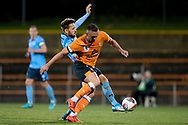 SYDNEY, AUSTRALIA - AUGUST 07: Sydney FC player Milos Ninkovic (10) gets the ball past Brisbane Roar player Thomas Aldred (5) during the FFA Cup round of 32 football match between Sydney FC and Brisbane Roar FC on August 07, 2019 at Leichhardt Oval in Sydney, Australia. (Photo by Speed Media/Icon Sportswire)