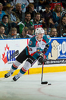 KELOWNA, CANADA - APRIL 26: Kole Lind #16 of the Kelowna Rockets skates with the puck against the Seattle Thunderbirds on April 26, 2017 at Prospera Place in Kelowna, British Columbia, Canada.  (Photo by Marissa Baecker/Shoot the Breeze)  *** Local Caption ***