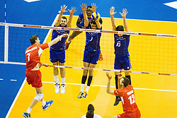 08.01.2016, Max Schmeling Halle, Berlin, GER, CEV Olympia Qualifikation, Frankreich vs Bulgarien, im Bild Block Pierre?Pujol (#13, Frankreich/France), Jonas?Aguenier (#1, Frankreich/France) und Nicolas?Marechal (#16, Frankreich/France) // during 2016 CEV Volleyball European Olympic Qualification Match between France and Bulgaria at the  Max Schmeling Halle in Berlin, Germany on 2016/01/08. EXPA Pictures © 2016, PhotoCredit: EXPA/ Eibner-Pressefoto/ Wuechner<br /> <br /> *****ATTENTION - OUT of GER*****