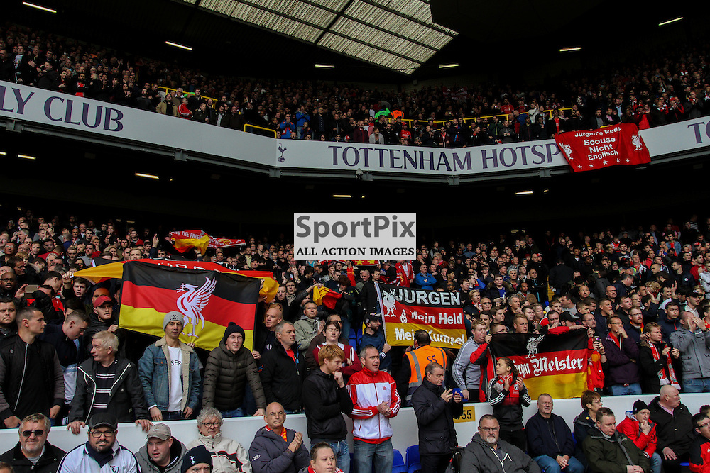 Liverpool fans with banners welcoming Jurgen Klopp before Tottenham Hotspur vs Liverpool on Saturday 17th of October 2015.