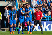 Gillingham FC forward Brandon Hanlan (7) (left) congratulated by Gillingham FC forward Tahvon Campbell (14) after scoring a goal (3-1) during the EFL Sky Bet League 1 match between Gillingham and Plymouth Argyle at the MEMS Priestfield Stadium, Gillingham, England on 19 April 2019.