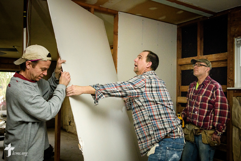 Volunteers from Saint Paul Lutheran Church, Mount Prospect, Ill., including (L-R) Jon Gehrt, Jim Wille, and Bill Makuch, help rebuild a home damaged by Hurricane Harvey on Wednesday, Feb. 7, 2018, in Port Arthur, Texas.  LCMS Communications/Erik M. Lunsford
