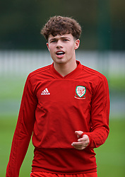 NEWPORT, WALES - Monday, October 14, 2019: Wales' Neco Williams during the pre-match warm-up before an Under-19's International Friendly match between Wales and Austria at Dragon Park. (Pic by David Rawcliffe/Propaganda)