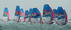 2012 Olympic Games London / Weymouth<br /> RSX man racing day 1 <br /> Fleet after the start