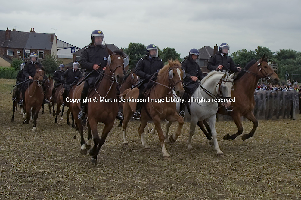 Jeremy Deller's re-enactment of the Battle of Orgreave, film for Channel 4 directed by Mike Figgis and produced by Artangel...© Martin Jenkinson, tel 0114 258 6808 mobile 07831 189363 email martin@pressphotos.co.uk. Copyright Designs & Patents Act 1988, moral rights asserted credit required. No part of this photo to be stored, reproduced, manipulated or transmitted to third parties by any means without prior written permission.