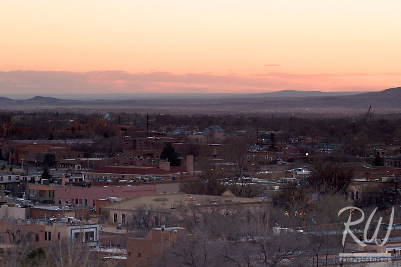 Sunset over Santa Fe from Fort Marcy Park, New Mexico