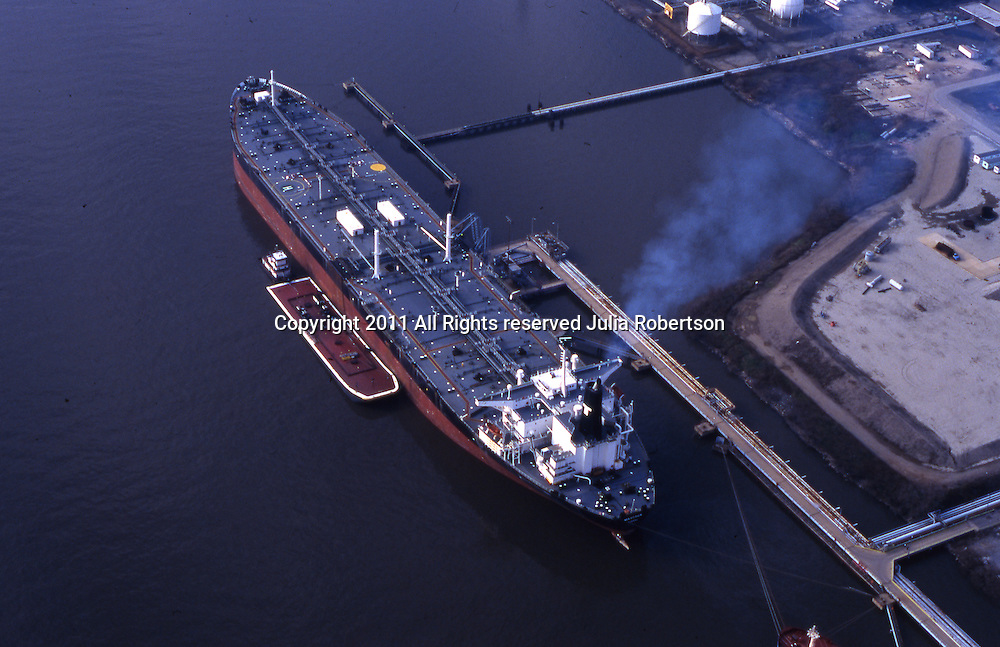 Aerial view of Oil Tanker of the North Jersey Shores steaming up to depart.