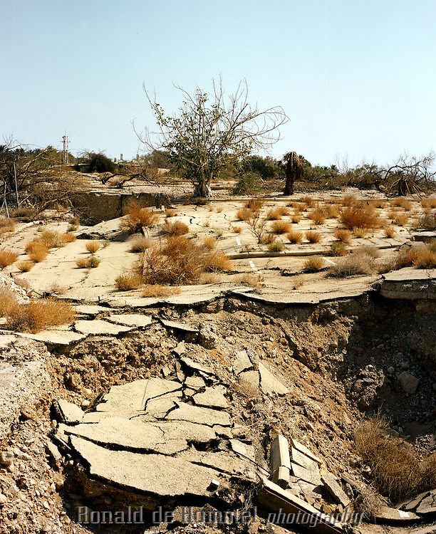 Ein Gedi's campsite, closed since the late ninties, collapsed in sinkholes created by the receding water line of the Dead Sea. Ein Gedi, Israel.