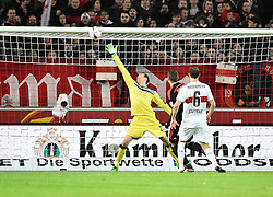 30.12.2015, Mercedes Benz Arena, Stuttgart, GER, 1. FBL, VfB Stuttgart vs Hamburger SV, 19. Runde, im Bild Lattentreffer v Pierre-Michel Lasogga HSV Hamburg Hamburger SV Torwart Przemyslaw Tyton VfB Stuttgart // during the German Bundesliga 19th round match between VfB Stuttgart and Hamburger SV at the Mercedes Benz Arena in Stuttgart, Germany on 2015/12/30. EXPA Pictures © 2016, PhotoCredit: EXPA/ Eibner-Pressefoto/ Weber<br /> <br /> *****ATTENTION - OUT of GER*****