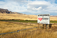 Signs, beef cattle, ranching, Cody, Wyoming, North Fork Road