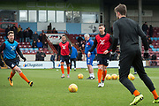 Scunthorpe United warm up for the EFL Sky Bet League 1 match between Scunthorpe United and Rotherham United at Glanford Park, Scunthorpe, England on 10 February 2018. Picture by Craig Zadoroznyj.