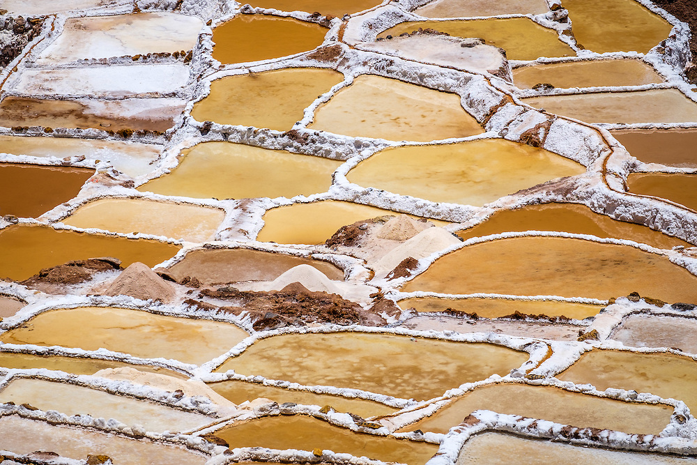 MARAS, PERU - CIRCA OCTOBER 2015:  Marasal salt plains near the village of Maras in the Cusco region known as Sacred Valley