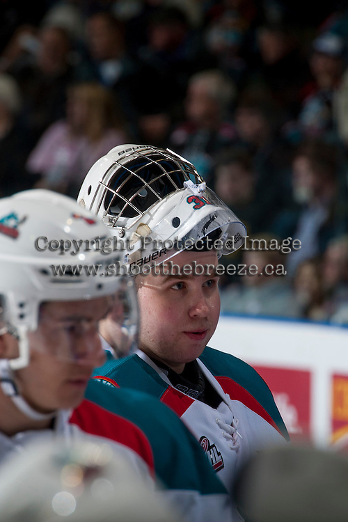 KELOWNA, CANADA - FEBRUARY 10: Brodan Salmond #31 of the Kelowna Rockets stands at the bench during time out against the Vancouver Giants on February 10, 2017 at Prospera Place in Kelowna, British Columbia, Canada.  (Photo by Marissa Baecker/Shoot the Breeze)  *** Local Caption ***