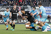 Saracens lock Will Skelton (5) tackled during the Premiership Rugby Cup match between Saracens and Worcester Warriors at Allianz Park, Hendon, United Kingdom on 11 November 2018.