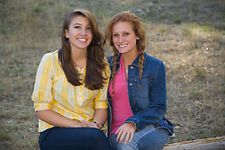 United States, Montana, two female teeangers at dude ranch  MR