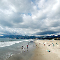 Rain clouds hover above Santa Monica on Sunday, Nov 6, 2011.