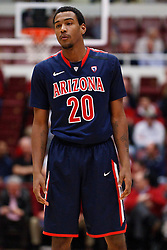 February 3, 2011; Stanford, CA, USA;  Arizona Wildcats guard Jordin Mayes (20) before a free throw against the Stanford Cardinal during the first half at Maples Pavilion.  Arizona defeated Stanford 78-69.
