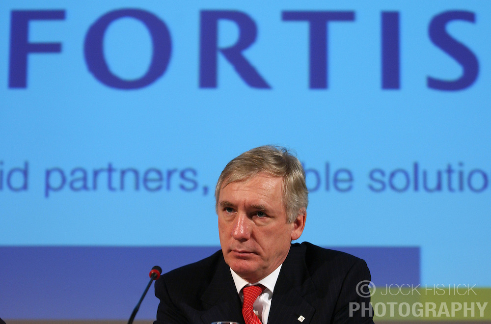 BRUSSELS, BELGIUM - MARCH-10-2005 - Jean-Paul Votron, chief executive officer of Fortis Bank, speaks during the Fortis Bank 2004 annual financial report.