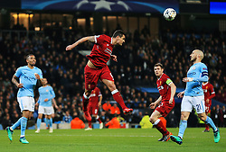 Dejan Lovren of Liverpool heads the ball clear - Mandatory by-line: Matt McNulty/JMP - 10/04/2018 - FOOTBALL - Etihad Stadium - Manchester, England - Manchester City v Liverpool - UEFA Champions League Quarter Final Second Leg