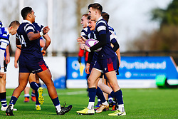 Tom Wilstead of Bristol Bears U18 celebrates after Ollie Holiday of Bristol Bears U18 scores a try - Rogan/JMP - 14/12/2019 - RUGBY UNION - Shaftesbury Park - Bristol, England - Bristol Bears U18 v Bath Rugby U18 - Premiership Rugby U18 Academy League.