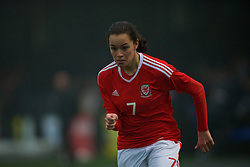 MERTHYR, WALES - Tuesday, February 14, 2017: Wales' Grace Horrell in action against Hungary during a Women's Under-17's International Friendly match at Penydarren Park. (Pic by Laura Malkin/Propaganda)